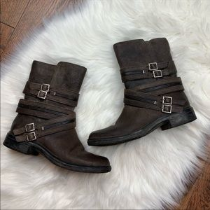 Vince Camuto Tavi Leather Moto Zipper Boots